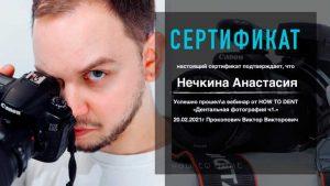 Сертификат о прохождении курса Нечкина